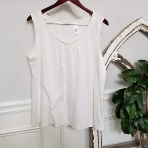 Liz and Co Off White Sleeveless Top 1X